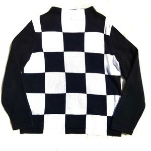 Vintage black and white block sweater mock neck S